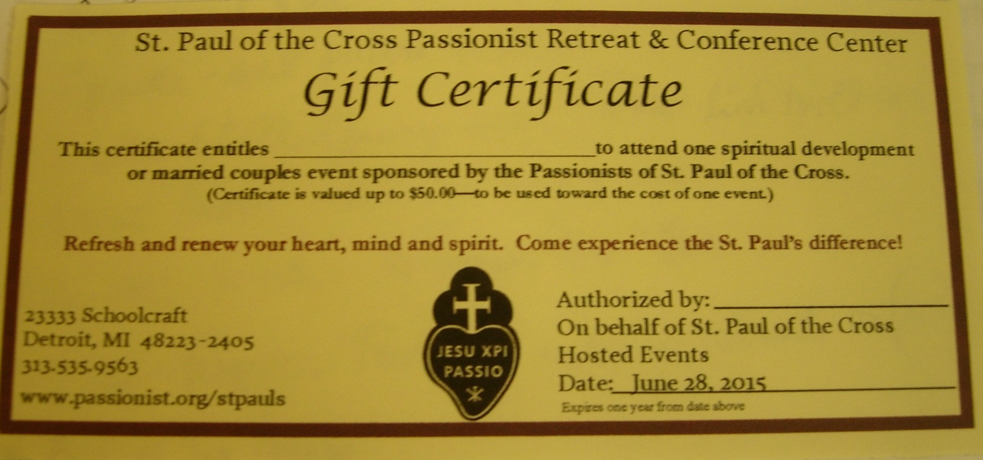gift certificate st paul of the cross newsletter